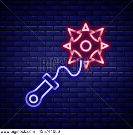 Glowing Neon Line Medieval Chained Mace Ball Icon Isolated On Brick Wall Background. Morgenstern Med