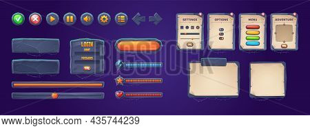 Set Of Game Stone Frames, Bars, Ui Scrolls, Boards With Antique Parchments And Menu Buttons. Cartoon