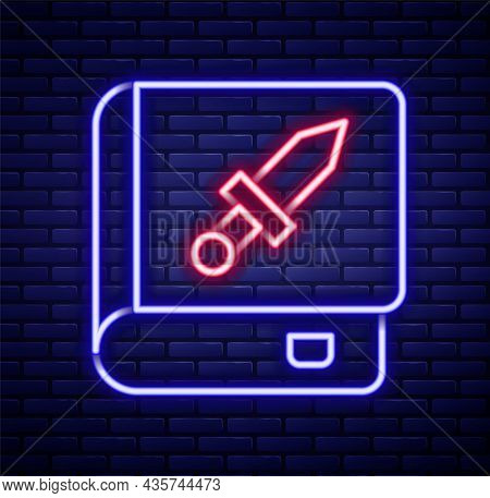 Glowing Neon Line Book About Weapon Icon Isolated On Brick Wall Background. Small Firearm. Weapon Ca