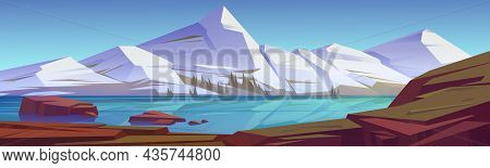 Mountains Pond Or Lake Nature Landscape, Scenery View. White Snowy Rocks Peaks And Calm Clear Water