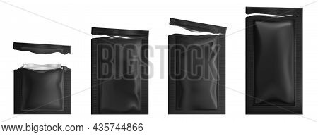 Black Sachets With Wet Wipes. Vector Realistic Mockup Of 3d Torn Foil Packages With Facial Napkins.