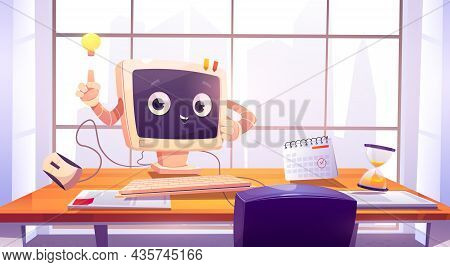 Computer Character At Office Desk, Cute Pc Desktop With Smiling Face Pointing On Glow Light Bulb. Ca