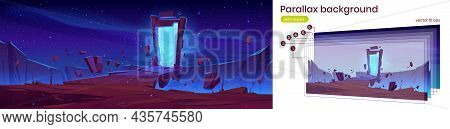 Magic Portal In Stone Frame On Mountain Landscape At Night. Vector Parallax Background For 2d Game A