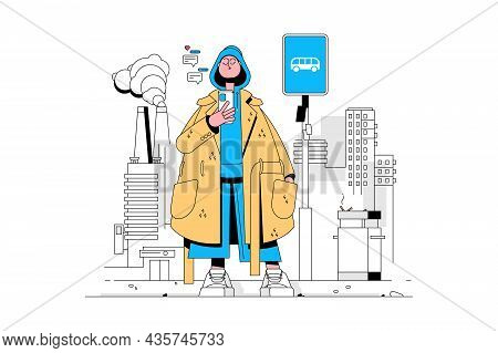 Fashionista In Coat Vector Illustration. Trendy Dressed Girl Texting On Smartphone On Bus Stop Flat