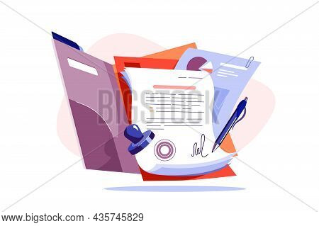 Paper For New Business Contract Vector Illustration. Successful Work Deal With Stamp Flat Style. Agr