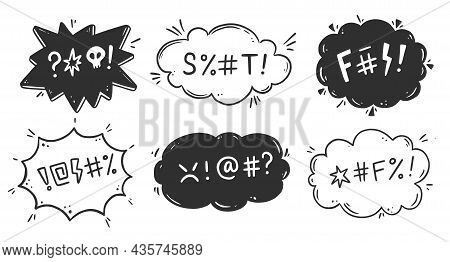 Swear Word Speech Bubble Set. Curse, Rude, Swear Word For Angry, Bad, Negative Expression. Hand Draw