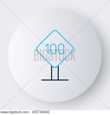 Line Speed Limit Traffic Sign 100 Km Icon Isolated On White Background. Colorful Outline Concept. Ve