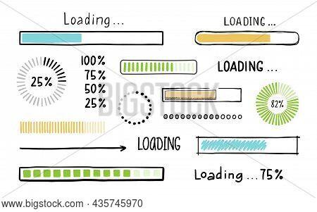 Loading Bar Doodle Element Set. Hand Drawn Line Sketch Style. Slow Download Speed, Progress Status,