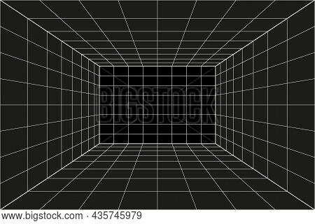Grid Perspective Black Room. Gray Wireframe Background. Digital Cyber Box Technology Model. Vector A