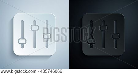 Paper Cut Sound Mixer Controller Icon Isolated On Grey And Black Background. Dj Equipment Slider But