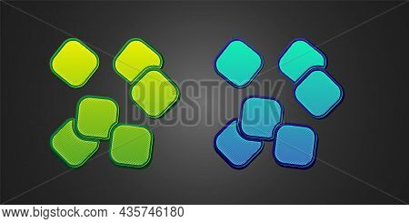 Green And Blue Sugar Cubes Icon Isolated On Black Background. Sweet, Nutritious, Tasty. Refined Suga