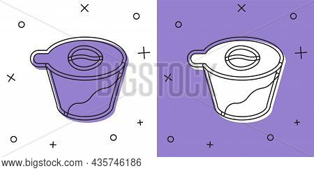 Set Pour Over Coffee Maker Icon Isolated On White And Purple Background. Alternative Methods Of Brew