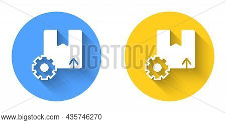 White Gear Wheel With Package Box Icon Isolated With Long Shadow Background. Box, Package, Parcel Si