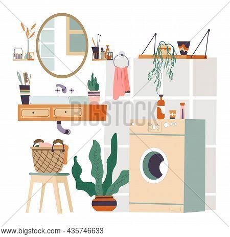 Bathroom Interior Design Basin And Washing Machine