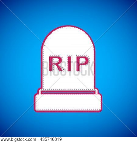 White Tombstone With Rip Written On It Icon Isolated On Blue Background. Grave Icon. Happy Halloween