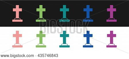 Set Tombstone With Cross Icon Isolated On Black And White Background. Grave Icon. Happy Halloween Pa