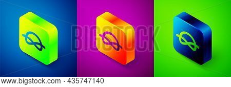 Isometric Nautical Rope Knots Icon Isolated On Blue, Purple And Green Background. Rope Tied In A Kno
