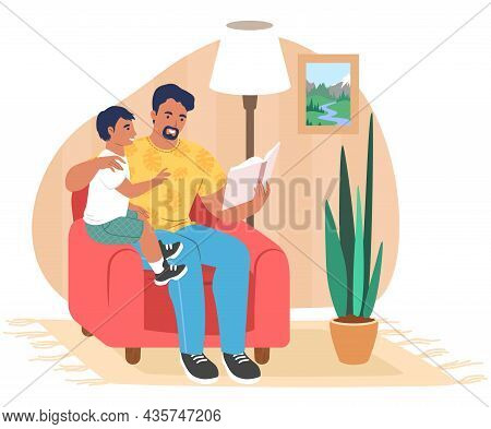 Happy Father Reading Book To Son Sitting In Armchair, Flat Vector Illustration. Parent Child Relatio
