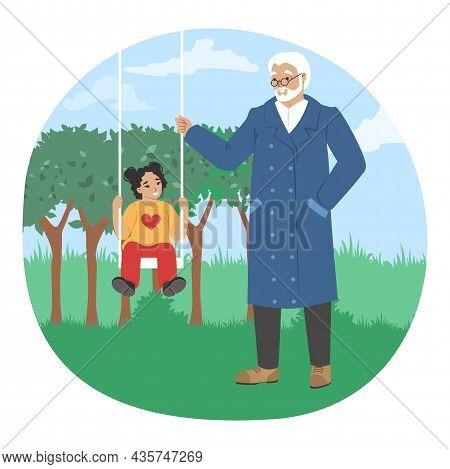 Grandfather Swinging Granddaughter On Swing In Park, Vector Illustration. Grandparent Grandchild Rel