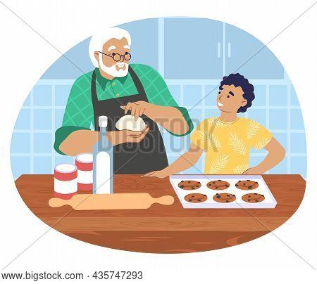 Grandfather Cooking With Grandson In Kitchen, Vector Illustration. Grandparent Grandchild Relationsh