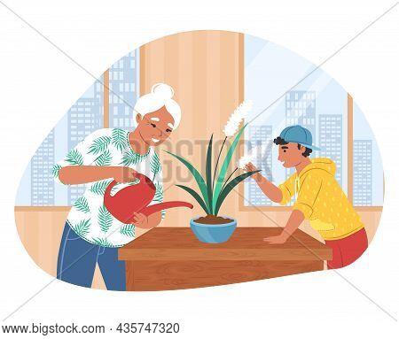 Grandson Helping His Grandmother With Housework, Flat Vector Illustration. Grandparent Grandchild Re