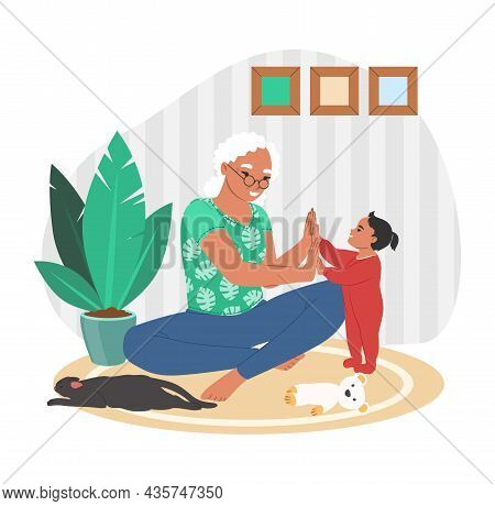 Happy Grandmother Playing With Granddaughter At Home, Flat Vector Illustration. Grandparent Grandchi