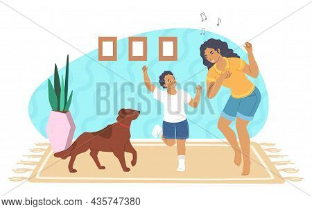 Happy Mother Playing With Son And Pet Dog At Home, Vector Illustration. Parent Child Relationship. P