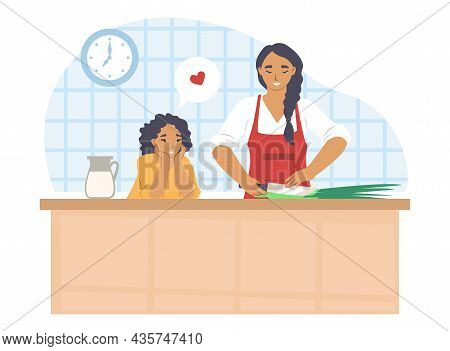 Happy Mother Cooking With Daughter In Kitchen, Flat Vector Illustration. Parent And Child Relationsh