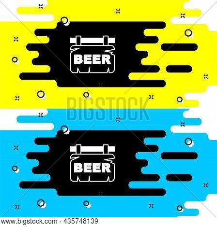 White Street Signboard With Inscription Beer Icon Isolated On Black Background. Suitable For Adverti