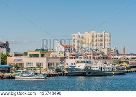 Uljin-eup, South Korea; September 19, 2021: Two Large Police Frigates Docked At Hupo Seaport.
