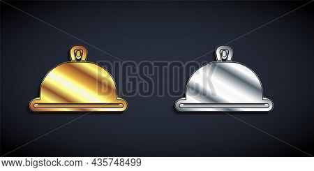 Gold And Silver Covered With A Tray Of Food Icon Isolated On Black Background. Tray And Lid Sign. Re
