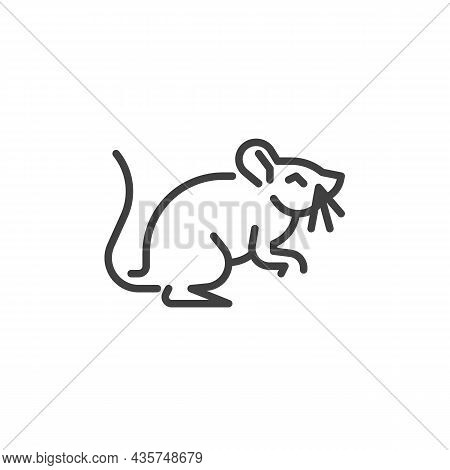 Mouse Animal Line Icon. Linear Style Sign For Mobile Concept And Web Design. Rat, Rodent Outline Vec