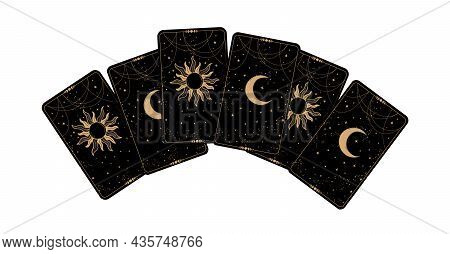 Tarot Cards Icon Top View. Black Cards Face Down With The Moon And The Sun. Drawing For Fortune Tell