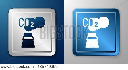 White Co2 Emissions In Cloud Icon Isolated On Blue And Grey Background. Carbon Dioxide Formula, Smog