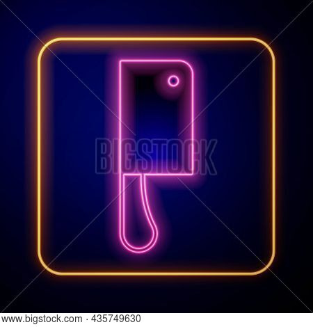 Glowing Neon Meat Chopper Icon Isolated On Black Background. Kitchen Knife For Meat. Butcher Knife.
