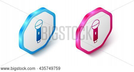 Isometric Microphone Icon Isolated On White Background. On Air Radio Mic Microphone. Speaker Sign. H