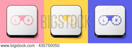 Isometric Contact Lens Container Icon Isolated On Pink, Yellow And Blue Background. Eyesight Care, L