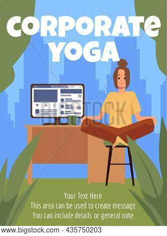 Corporate Relaxing Yoga At Workplace Poster Or Banner Flat Vector Illustration.
