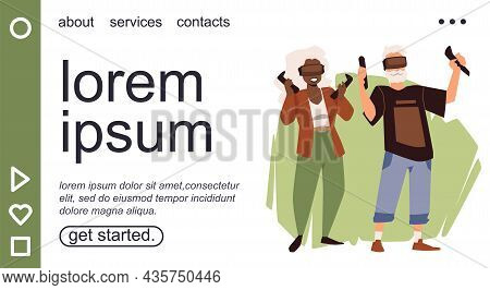 Website With Grandparents Using Computer Gadgets, Flat Vector Illustration.