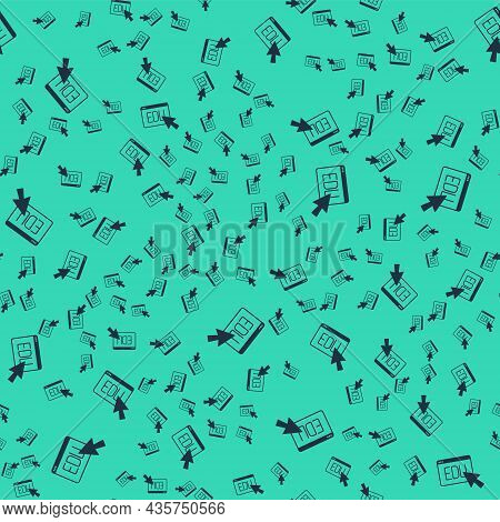 Black Online Education And Graduation Icon Isolated Seamless Pattern On Green Background. Online Tea