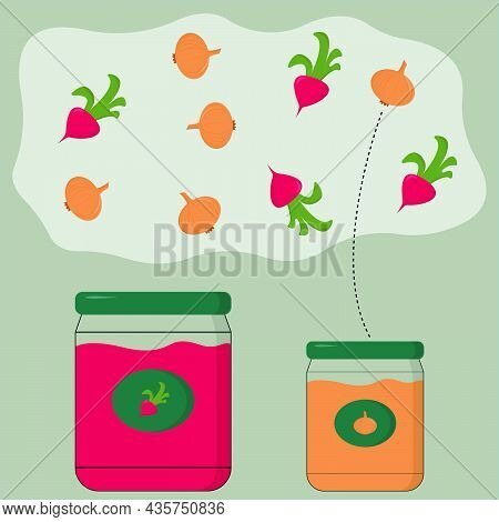 Educational Activity For Children, Sort The Radishes And Onions Into The Appropriate Jars. Logic Gam