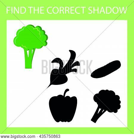Find A Shadow Broccoli Steam Room. Match Vegetable With Correct Shadow Preschool Worksheet, Kids Act