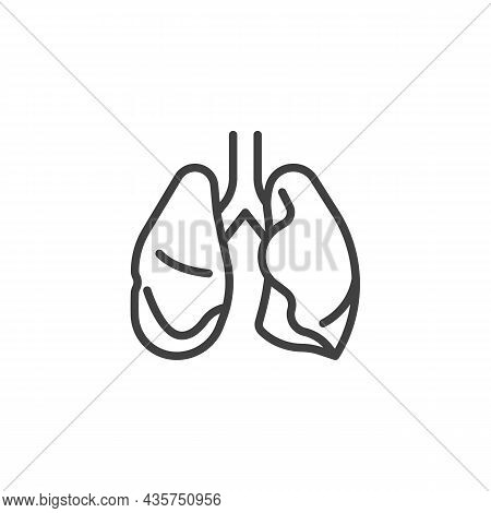 Human Lungs Anatomy Line Icon. Linear Style Sign For Mobile Concept And Web Design. Lungs Organ Outl