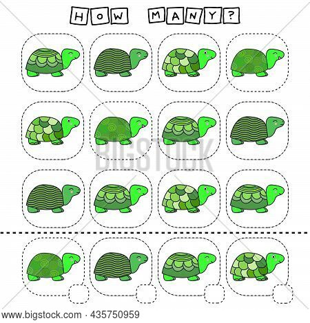 How Many Counting Game With Funny Turtles. Worksheet For Preschool Kids, Kids Activity Sheet, Printa