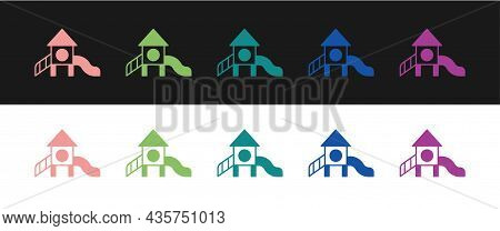 Set Slide Playground Icon Isolated On Black And White Background. Childrens Slide. Vector