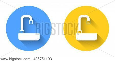 White Washbasin With Water Tap Icon Isolated With Long Shadow Background. Circle Button. Vector