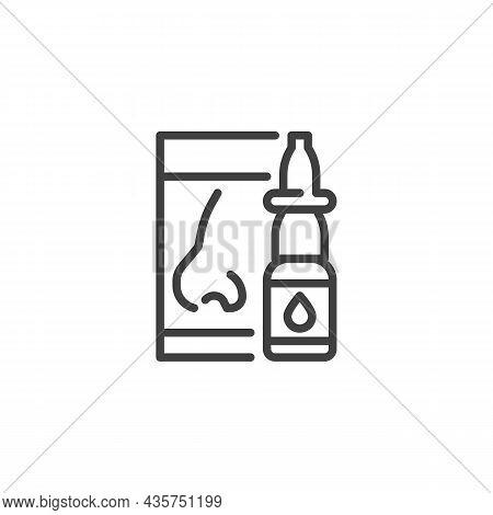 Nasal Spray Line Icon. Linear Style Sign For Mobile Concept And Web Design. Medical Nasal Spray Bott