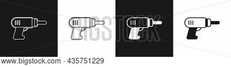 Set Electric Drill Machine Icon Isolated On Black And White Background. Repair Tool. Vector