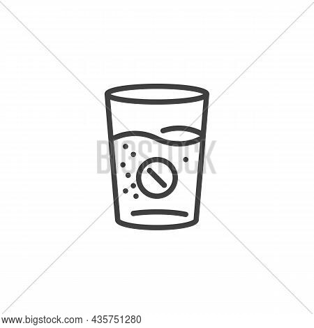 Effervescent Aspirin Tablet Glass Line Icon. Linear Style Sign For Mobile Concept And Web Design. Gl