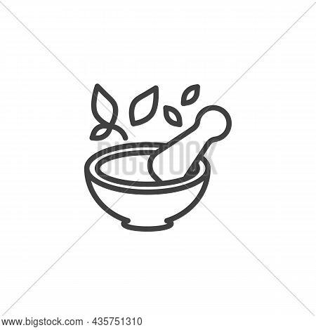 Mortar And Pestle Line Icon. Linear Style Sign For Mobile Concept And Web Design. Pharmacy, Pestle A